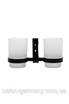 Склянки для зубних щіток чорні Germece 5508PL, скло та алюміній