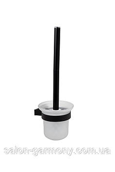 Йоршик для унітазу чорний Germece 5510 PL, скло та алюміній