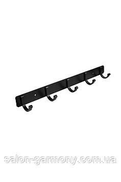 Тримач для рушників на 5 гачків чорний Germece 5516-5PL, алюміній