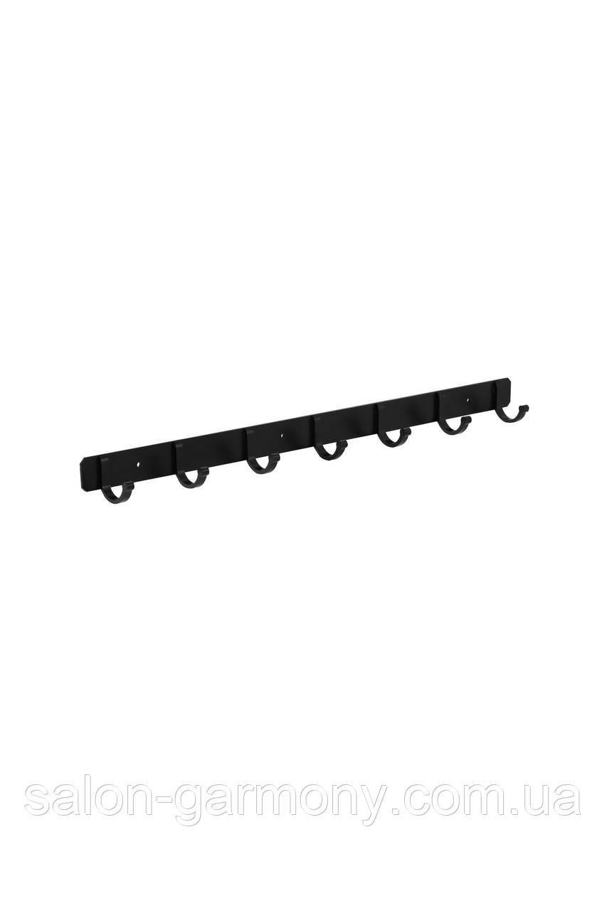 Держатель для полотенец на 7 крючков черный Germece 5516-7PL, алюминий