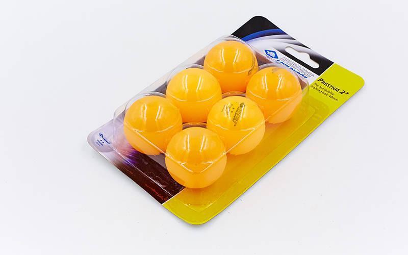 Шарики для настольного тенниса 6 штук DONIC МТ-658028 PRESTIGE 2star (целлулоид, d-40мм, оранж)