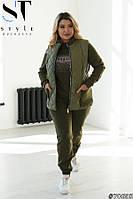 Теплый женский костюм тройка с жилеткой большого размера 44 46 48 50 52 54 56 58 60 62 64
