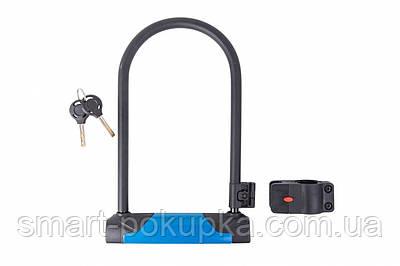 Замок U-Lock PY 6264 на ключе 127mm*230mm черный с синим