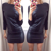 Кожаное платье с трикотажным рукавом