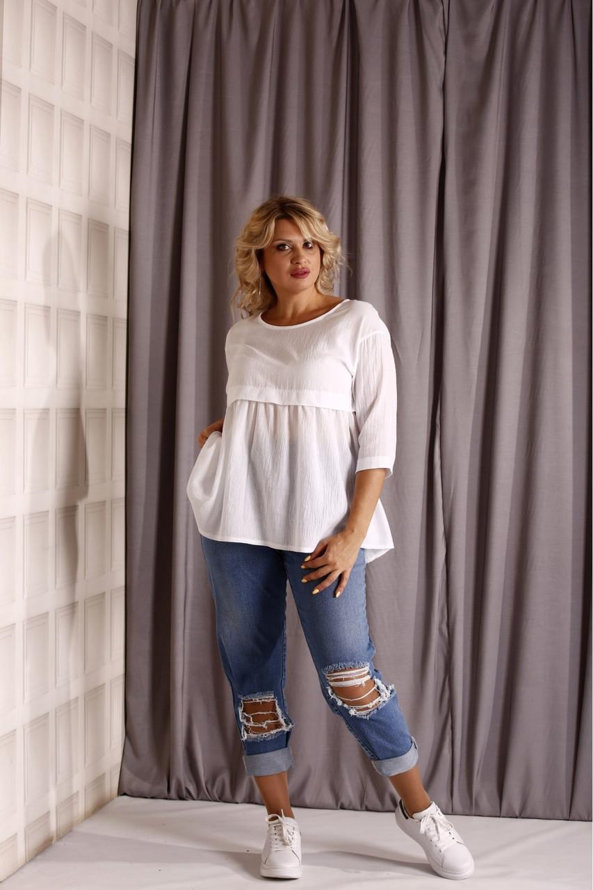 ❤/ Розмір 42-74 / Жіноча блузка великих розмірів 01925 / колір білий