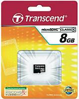 Карта памяти microSDHC, 8Gb, Class4, Transcend, без адаптера