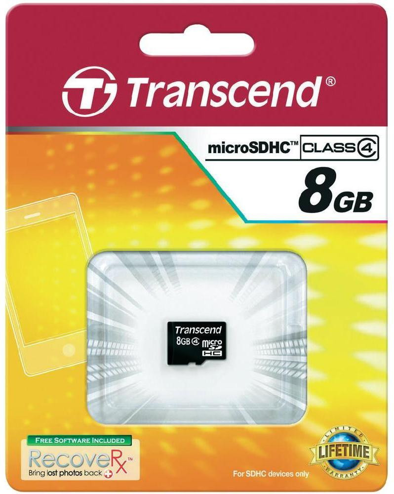 """Карта памяти microSDHC, 8Gb, Class4, Transcend, без адаптера - """"ТехноОпт"""" Лучшие товары по Лучшим ценам! в Днепропетровской области"""