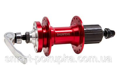 Втулка задня AL 36H під диск. SHUNFENG SF-A217R червоний з эксцентр. пром. подшипн. під касету 8-9-10