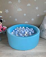 Блакитний дитячий сухий басейн з кульками, фото 1