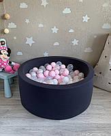 Темно-сірий дитячий сухий басейн з кульками, фото 1