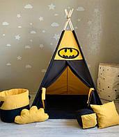 """Детская палатка - вигвам """"Ночное поместье Бэтмена"""" с прямым ковриком"""