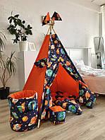 """Детская палатка - вигвам """"Космическое Путешествие"""" с ковриком бомбон (пухлый), фото 1"""