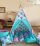 """Детская палатка - вигвам """"Мишка Тедди"""" с ковриком бомбон(пухлый), фото 1"""