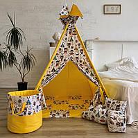 """Детская палатка - вигвам """"Легенды индейцев"""" с прямым ковриком"""