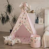 """Детская палатка - вигвам """"Принцесса в замке"""" с прямым ковриком"""