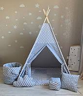 """Детская палатка - вигвам """"Серый облачный замок"""" с прямым ковриком"""