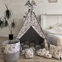 """Детская палатка - вигвам """"Оленята"""" с ковриком бомбон(пухлый), фото 1"""