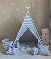 """Детская палатка - вигвам """"Серый облачный замок"""" с ковриком бомбон(пухлый), фото 1"""