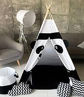 """Детская палатка - вигвам """"Белая панда"""" с прямым ковриком"""