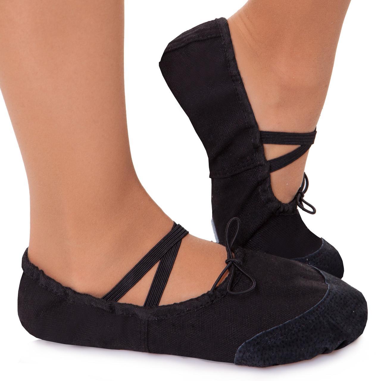 Балетные тапочки черные балетки для танцев тканевые с кожаными нашивками размер 30