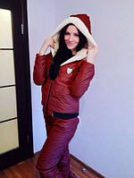 Зимний спортивный костюм  женский Монклер красный , женские костюмы