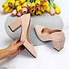 Елегантні жіночі бежеві жіночі замшеві туфлі на фігурному підборі 38-24,5 / 40-26см, фото 9
