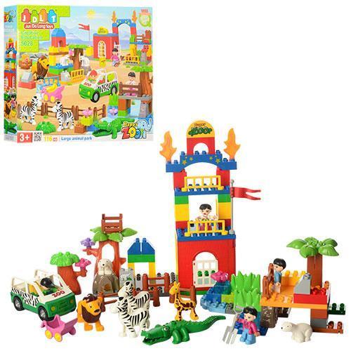 Яскравий конструктор для малюків Зоопарк, з машинкою, фігурками тварин JDLT 5028, (116 деталей)