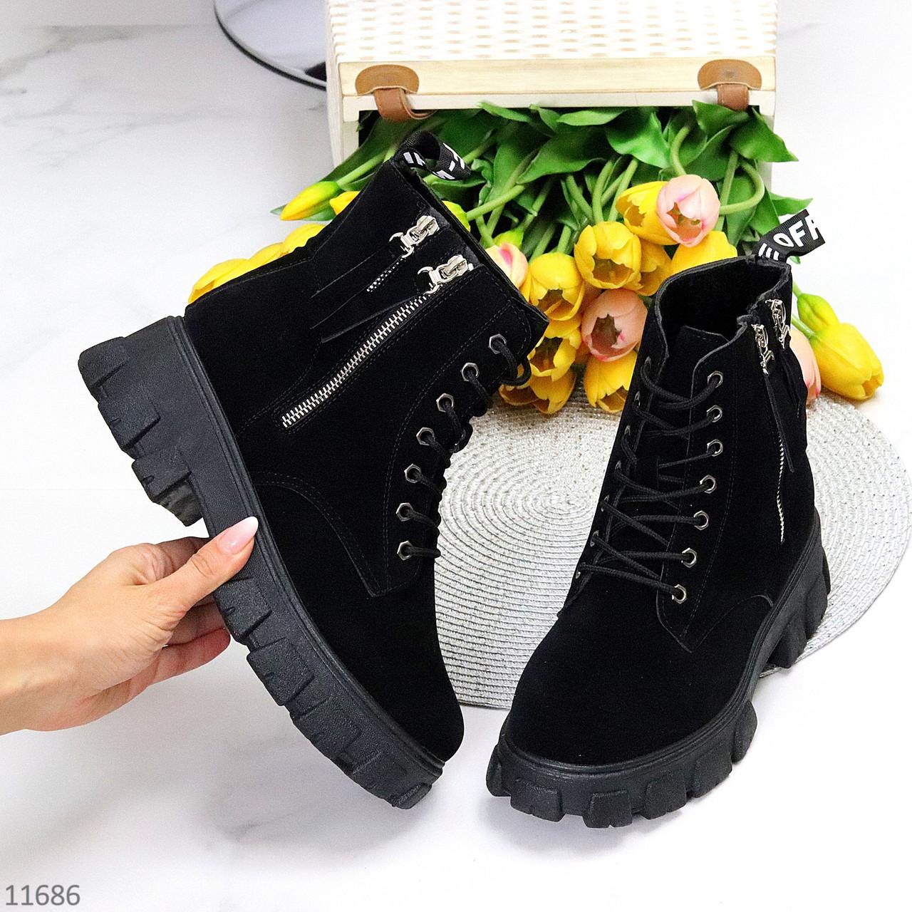 Трендові чорні замшеві жіночі черевики на флісі на товстій підошві