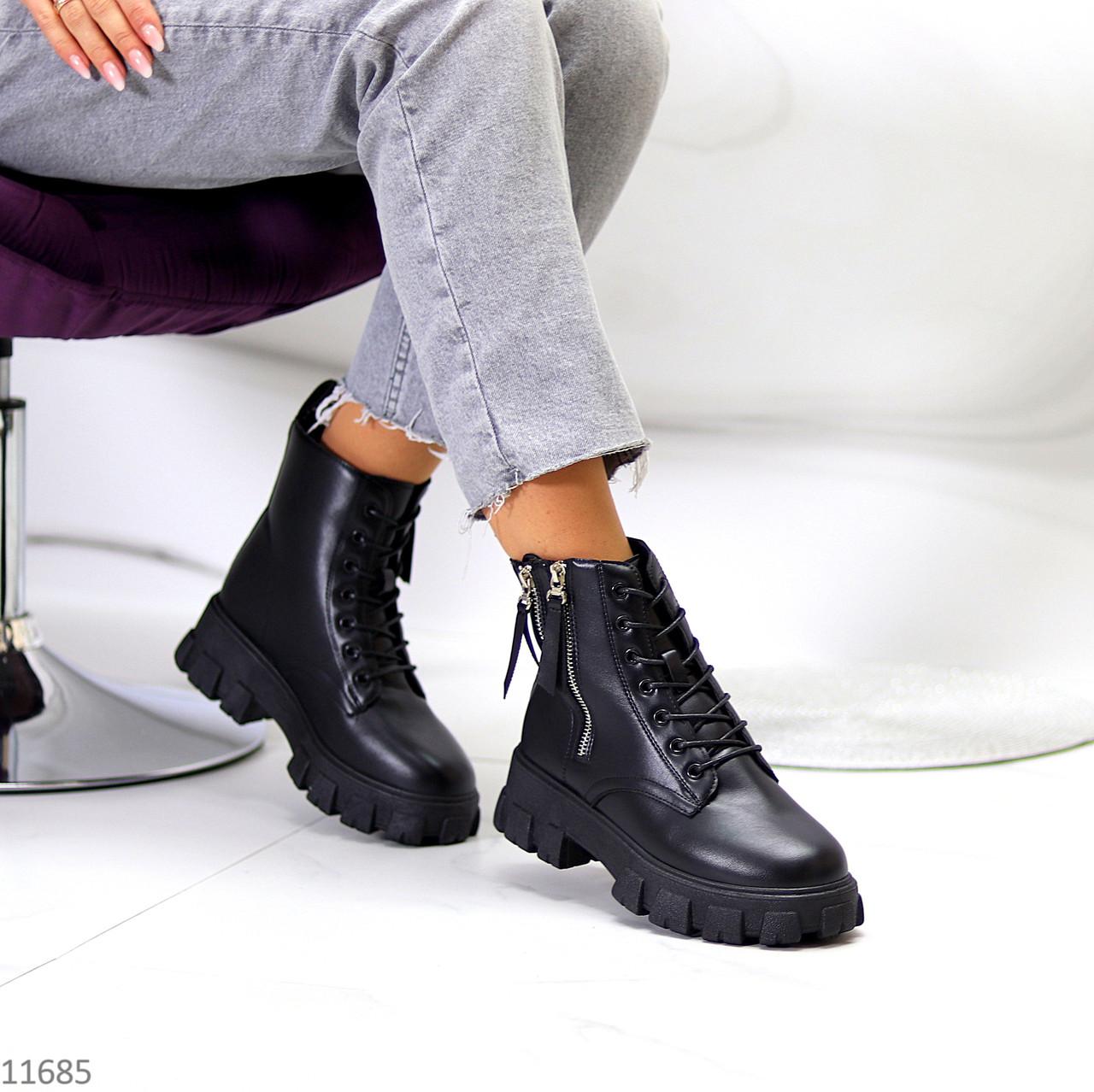 Трендові чорні жіночі черевики на флісі на товстій підошві
