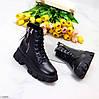Трендові чорні жіночі черевики на флісі на товстій підошві, фото 9