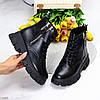 Трендові чорні жіночі черевики на флісі на товстій підошві, фото 10