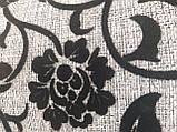 Рогожка-флок квітка чорний оббивна тканина для меблів, фото 4