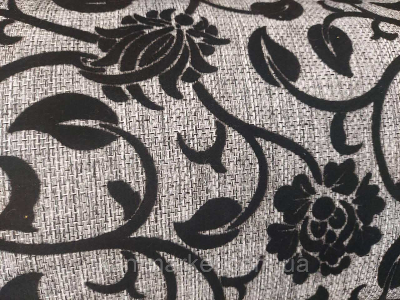 Рогожка-флок квітка чорний оббивна тканина для меблів