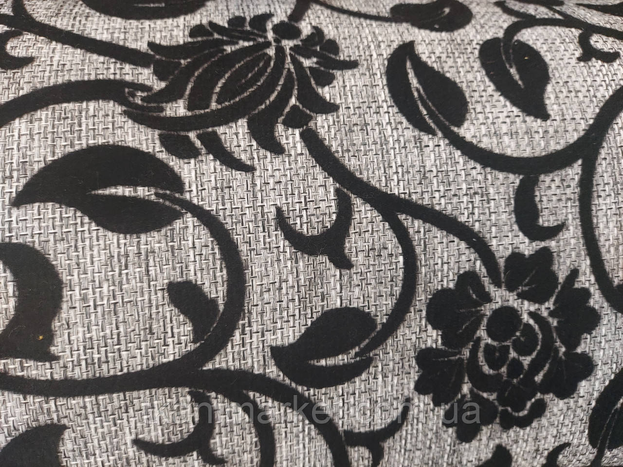 Рогожка-флок цветок черный обивочная ткань для мебели