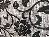 Рогожка-флок квітка чорний оббивна тканина для меблів, фото 3