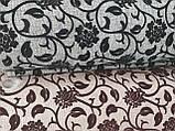 Рогожка-флок квітка чорний оббивна тканина для меблів, фото 2