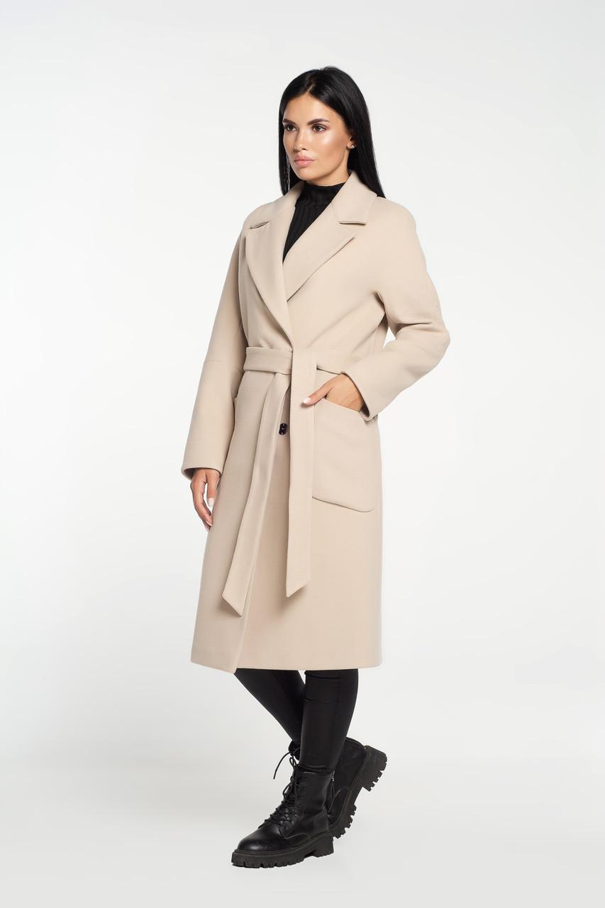 Пальто халат под пояс светлый беж