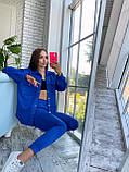 Жіночий осінній костюм двійка з брюками і сорочкою сірий бежевий синій електрик чорний 42-44 46-48 замш, фото 5