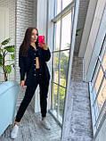 Жіночий осінній костюм двійка з брюками і сорочкою сірий бежевий синій електрик чорний 42-44 46-48 замш, фото 6