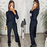 Женский осенний костюм с брюками в рубчик плаццо черный пудровый серый 42-44 46-48 трикотажный, фото 2
