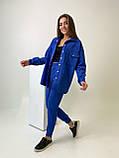 Женский осенний костюм с брюками и рубашкой замшевый синий серый черный бежевый 42-44 46-48 популярный, фото 2