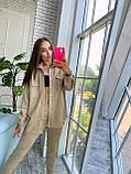Женский осенний костюм с брюками и рубашкой замшевый синий серый черный бежевый 42-44 46-48 популярный, фото 4