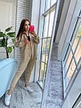 Женский осенний костюм с брюками и рубашкой замшевый синий серый черный бежевый 42-44 46-48 популярный, фото 3