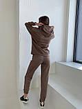 Осенний спортивный костюм женский с худи коричневый мокко кемел молочный 42-44 46-48 замшевый, фото 2