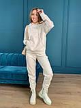 Осенний спортивный костюм женский с худи коричневый мокко кемел молочный 42-44 46-48 замшевый, фото 3