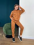 Осенний спортивный костюм женский с худи коричневый мокко кемел молочный 42-44 46-48 замшевый, фото 6