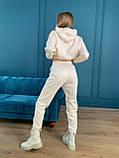 Осенний спортивный костюм женский с худи коричневый мокко кемел молочный 42-44 46-48 замшевый, фото 4