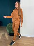 Осенний спортивный костюм женский с худи коричневый мокко кемел молочный 42-44 46-48 замшевый, фото 5