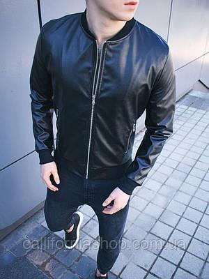 Мужская кожанка бомбер черного цвета куртка кожаная