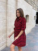 Стильное приталенное женское платье в клетку батал красно-черная клетка